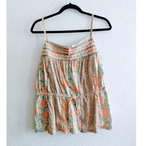 Anthropologie Ric Rac Floral Tank Top Size Large